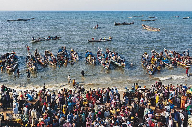 L'arrivee des pecheurs a M'Bour, Senegal, Fishermen arriving at M'Bour, Senegal.