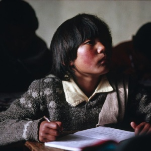A student at the Tibetan Children Village school, Pathlikuhl, Indian Himalayas