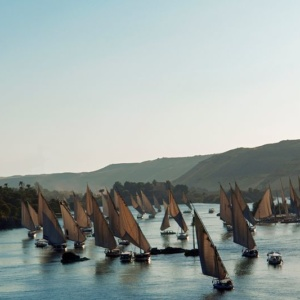 Feluccas on the Nile in Aswan, Egypt.