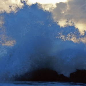 The power of a foamy wave, the Reykjanes peninsula, southern Iceland