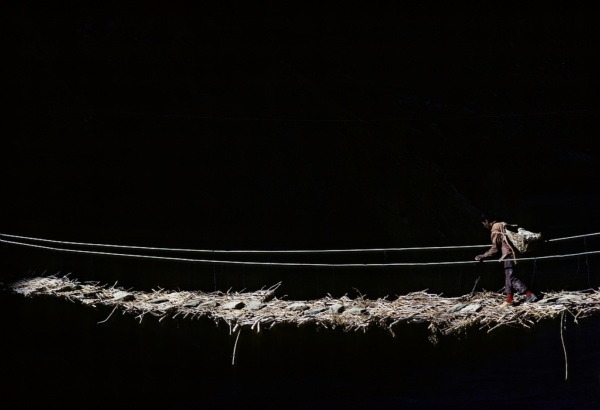 A temporary footbridge made of ropes and branches, to reach Phuktal monastery at 4000 m in Zanskar (Indian