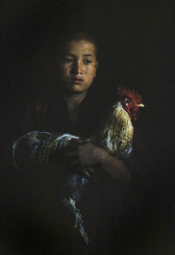 The cock, mascot of the monks at the Tongsa Dzong (Bhutan)