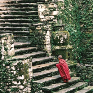 A young monk late for the prayer at Tongsa Dzong (Bhutan)