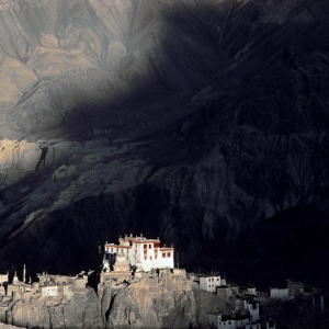 The Buddhist Lamaist monastery of Lamayuru overlooking a cob village, Ladakh, India
